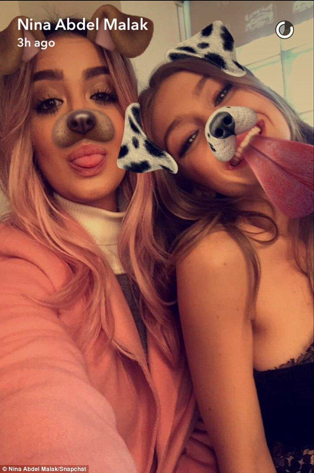 Playful:They also had fun with the social media app's dog filter - which digitally adds puppy ears and a nose to a person's face