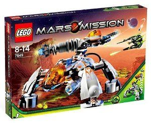 Lego Mars Mission Set #7649 MT-201 Ultra-Drill Walker by LEGO. $189.99. For ages 8-14. 759 pieces!.  Formerly a retailer exclusive! 	  For ages 8-14. 759 pieces! 	  This powerful drilling rig may look like a simple base for mining energy crystals, but it's so much more when hostile aliens attack, the MT-201 Ultra Drill Walker converts into a massive 4-legged mobile tank-mech and thunders across the surface of Mars!. Change modes and stomp into battle!  This powerful drilling ri...