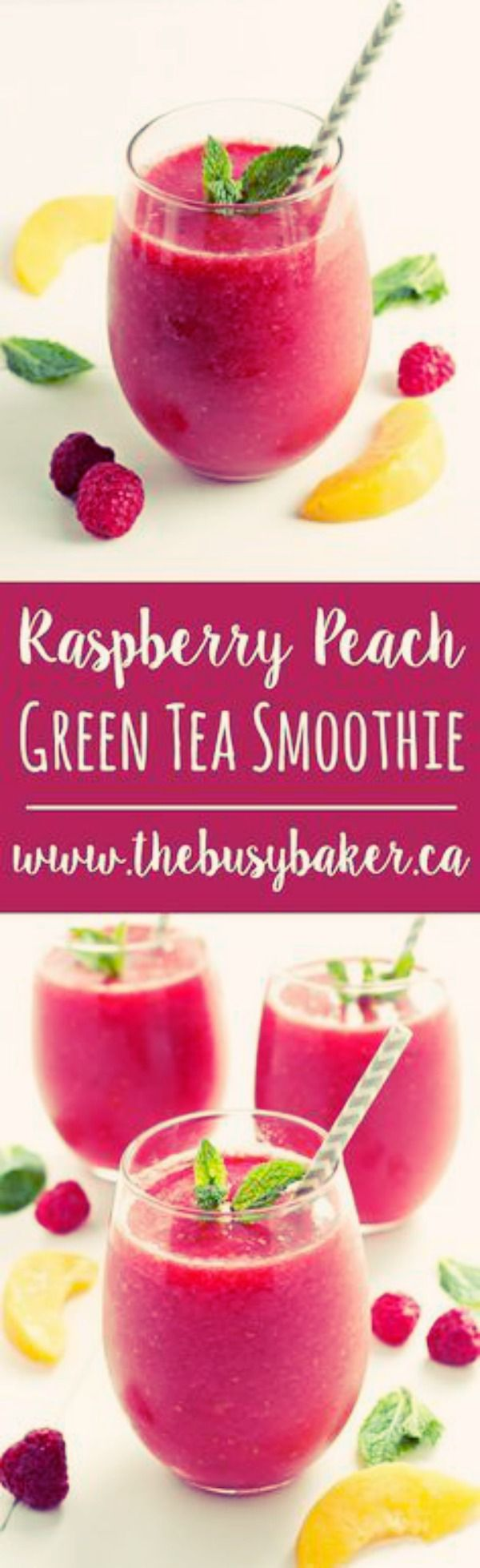 Raspberry Peach Green Tea Smoothie | This Raspberry Peach Green Tea Smoothie is my favourite summer drink! It's a refreshing low-calorie treat that's naturally sweetened only with fruit, with a delicious hint of iced green tea! via: @busybakerblog
