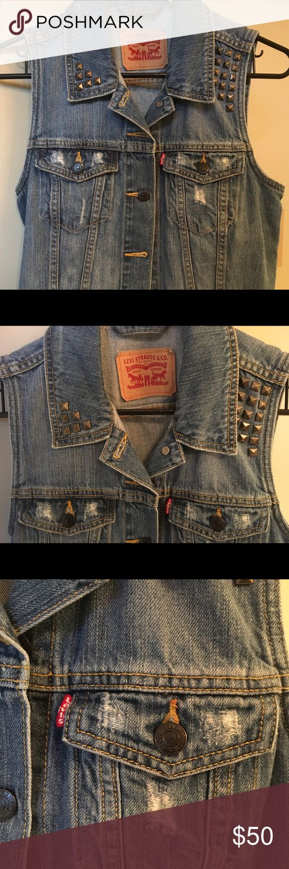 Levi's denim vest with studs This is brand new with tags, demon levi vest. Really cool distressed denim with brushed gold studs. Levi's Tops Tank Tops