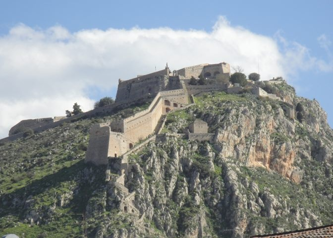 Palamidi Castle in Nafplio viewed from Akronafplia. Notice the steps leading down the hill and into the old town of Nafplio.