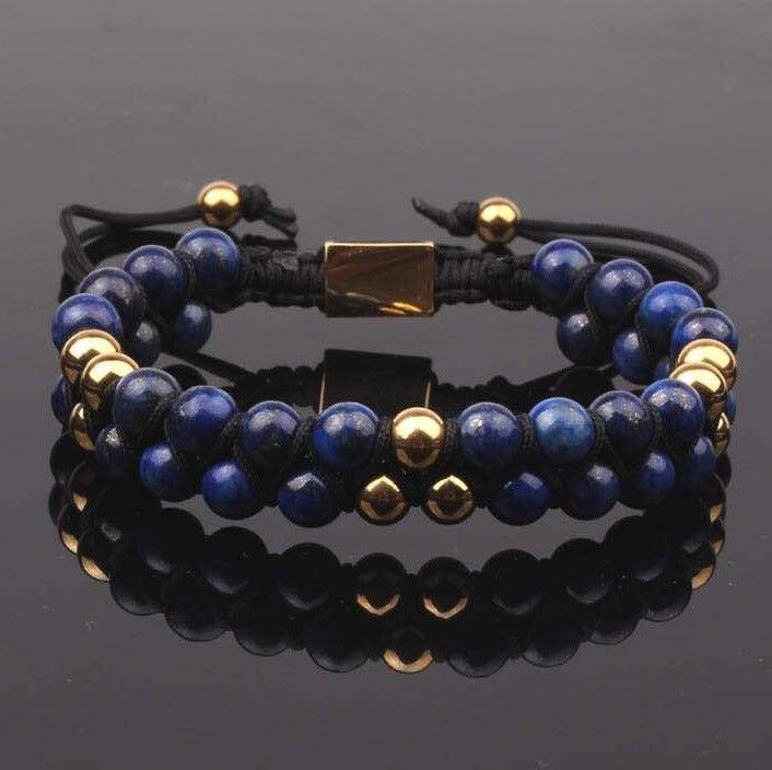 PRE-ORDER : Blue Lapis Double Beaded Bracelet 6mm
