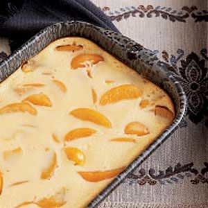 Peach Kuchen with Sour Cream - I make Kuchen frequently. It is an upscale cobbler, with a cake-like bottom and sweet cream topping that is very tasty and satisfying.  Enjoy!