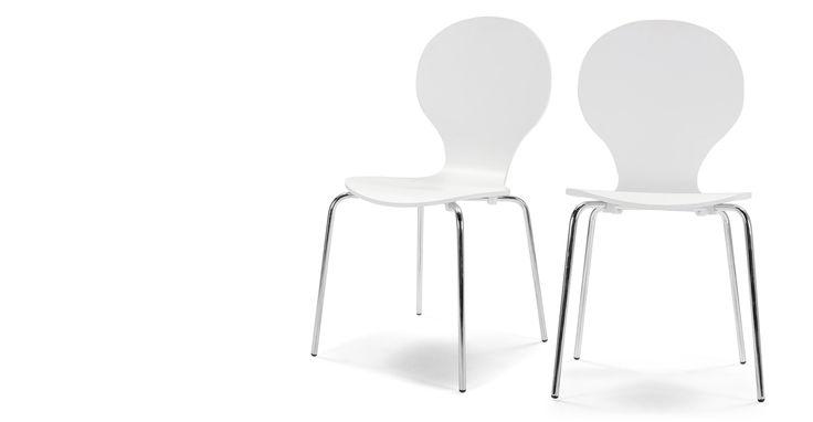 2x Kitsch eetkamerstoelen in wit