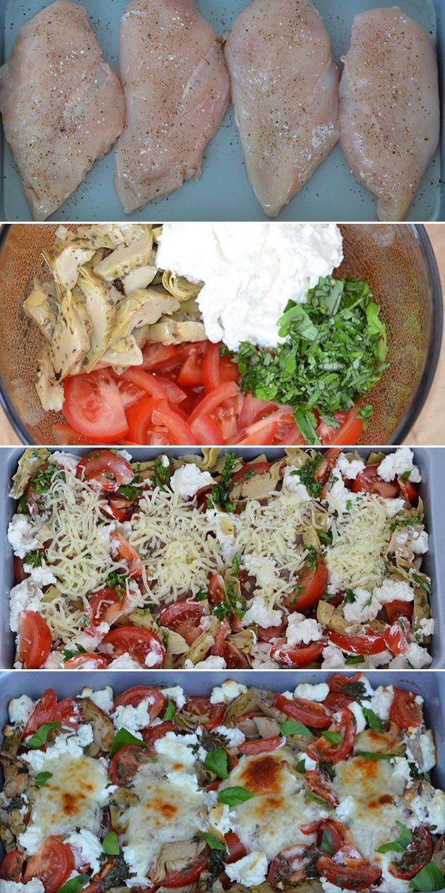 Suveræn ret, hvor kyllingen steges i samme fad som tomater, artiskokhjerter og…