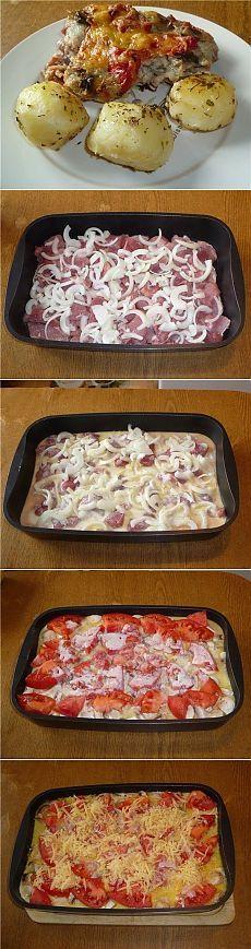 Как приготовить свинина, запеченная с овощами под соусом бешамель - рецепт, ингридиенты и фотографии
