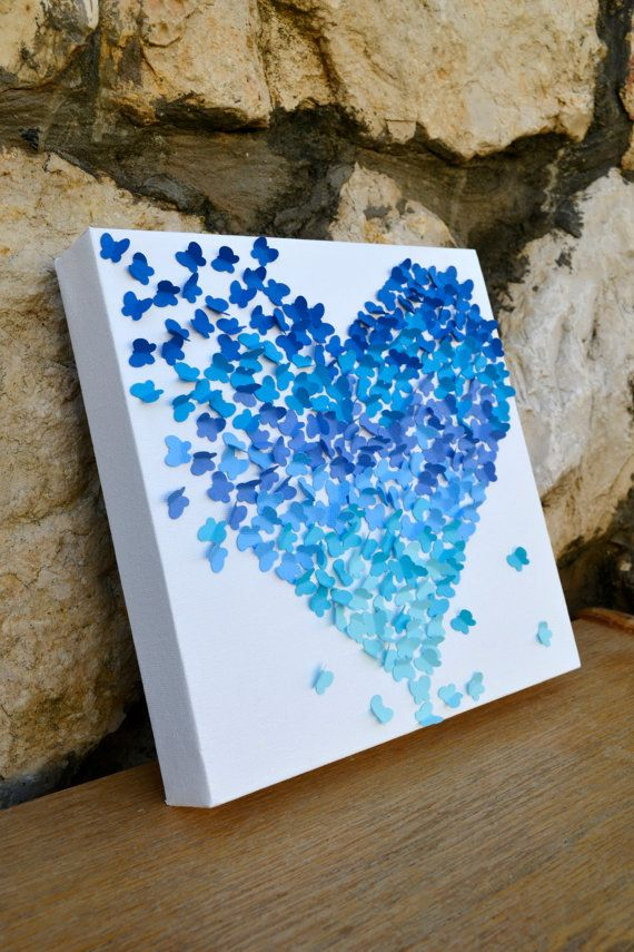 Blue Ombre Butterfly Heart/ 3D Butterfly Wall Art/ Engagement / Wedding Gift / Anniversary / Something Blue / Nursery Art   - Made to Order