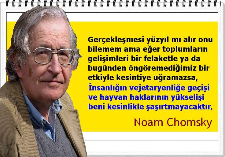 Gerçekleşmesi yüzyıl mı alır onu bilemem ama eğer toplumların gelişimleri bir felaketle ya da bugünden öngöremediğimiz bir etkiyle kesintiye uğramazsa, İnsanlığın vejetaryenliğe geçişi ve hayvan haklarının yükselişi beni kesinlikle şaşırtmayacaktır. -Noam Chomsky