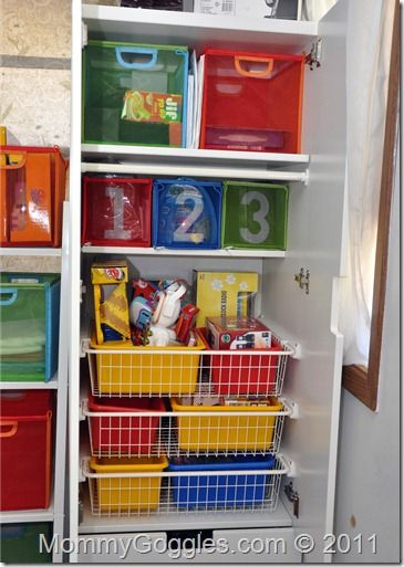Stuva for toy storage with bins from play shelf in wire racks