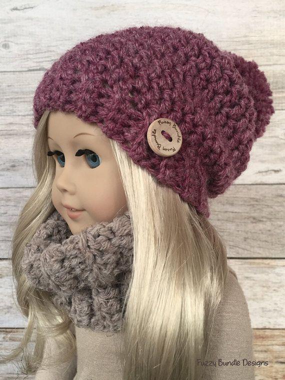 CROCHET PATTERN – 18 inch Doll Slouchy Pom Beanie/Hat PDF 07 (Fits American Girl Dolls)