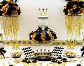 BLACK and GOLD Prince Baby Shower Candy Buffet Centerpiece with Baby Shower Favors / Black and Gold Baby Shower Theme Decorations