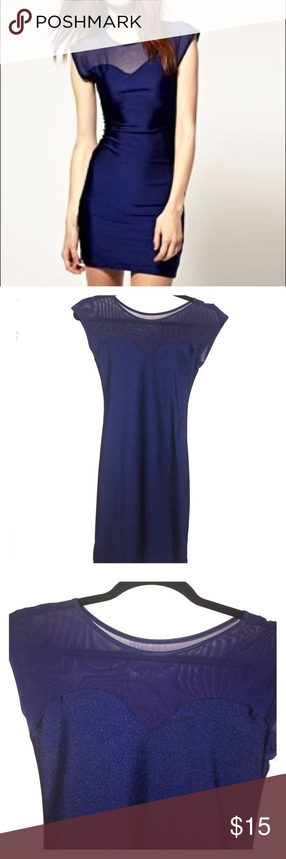 American Apparel navy mini dress Navy blue dress with mesh detail in front and back. Fits great! Worn once and excellent condition. Small tear in mesh which is hardly noticeable. Cut tag on inside so it wouldn't show when worn. American Apparel Dresses Mini