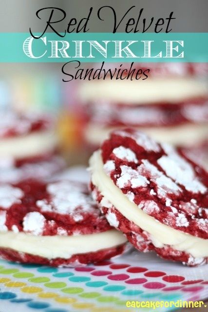 Eat Cake For Dinner: Red Velvet Crinkle Sandwiches | I will try with homemade buttercream i think, maybe sprinkles for V day!?
