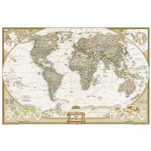 World Executive Poster Sized Wall Map (Tubed World Map) $16.99 @amazon