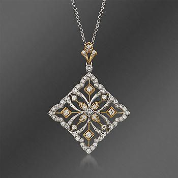 "Ross-Simons - Simon G. .83 ct. t.w. Fancy Diamond Pendant Necklace in 18kt Two-Tone Gold. 17"" - #813248"