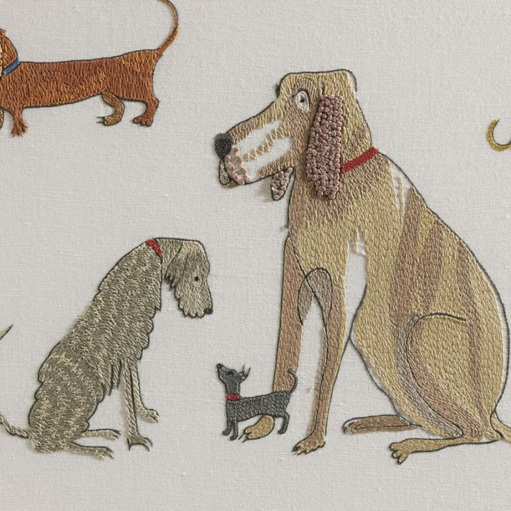 Chelsea Textiles | Dogs on parade by Domenica More Gordon. Hand embroidered fabric