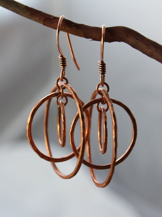 copper earrings, copper circle earrings, artisan copper orbit earrings, organic, rustic, healing energy, kinetic earrings, energy earrings