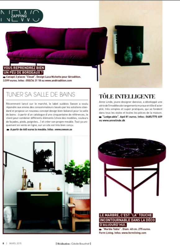 Ledge:able shelf in Belgian magazine 'Deco Idee'  March 2015