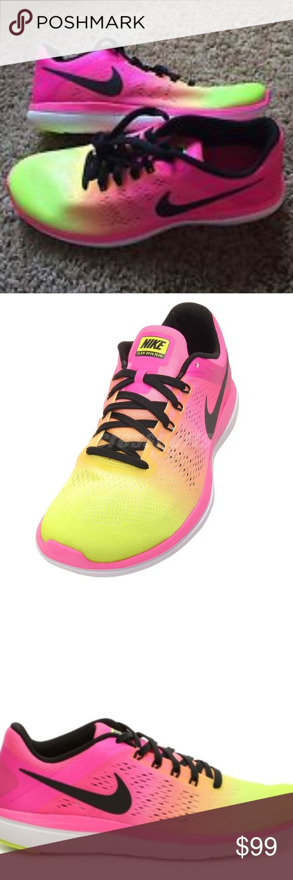 NEW ⚡️ NIKE WOMENS FLEX TRAINER SZ 9 WOMEN Nike  Flex Pink & Yellow Tennis Running shoes      new .no box no tags Nike Shoes Athletic Shoes