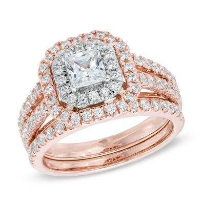 1-1/2 CT. T.W. Princess-Cut Diamond Double Frame Bridal Set in 14K Two-Tone Gold - View All Rings - Zales