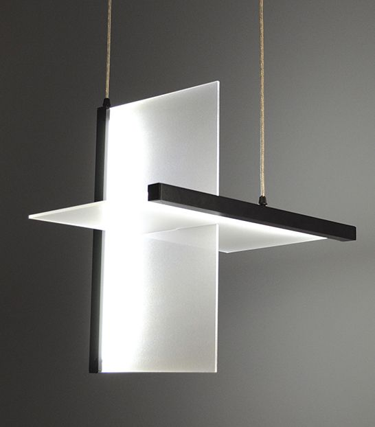 Planar 2D Pendant. DigitalSpeck line   by Manning Lighting. The Planar 2D pendant is simply intersecting planes of light. The opposing horizontal and vertical aluminum extrusions contain the LED components to illuminate each panel.