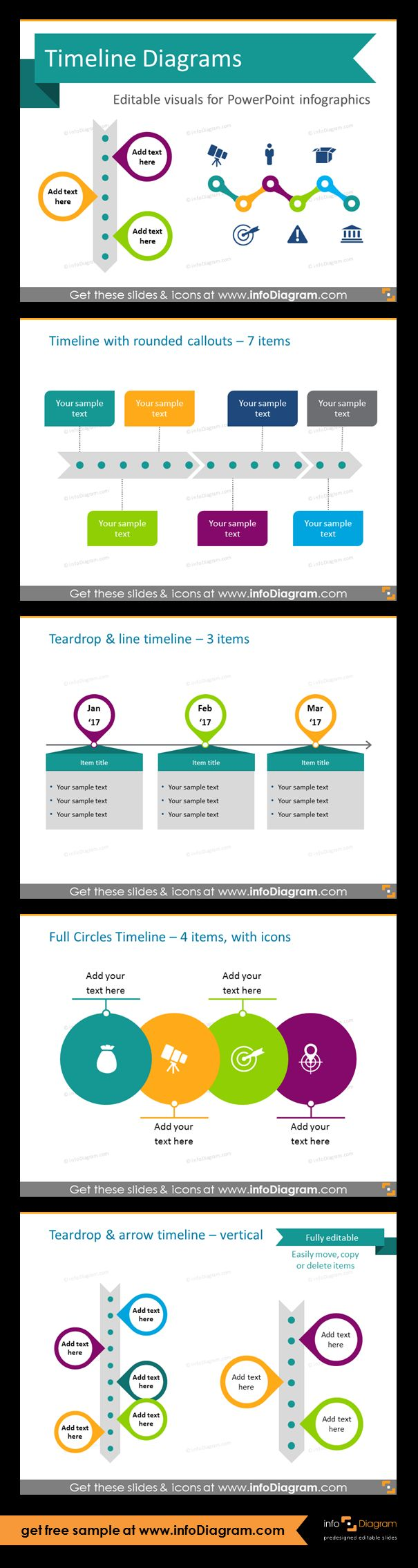 Template slides for Timeline diagrams and Time infographics. Editable PowerPoint graphics for showing history, agenda, linear process flow charts, project timelines, planning phases and roadmaps by modern infographics. Timeline with rounded callouts, teardrop and line, full circles timelines. Replace default tables and ordered lists with more visual timeline arrows.