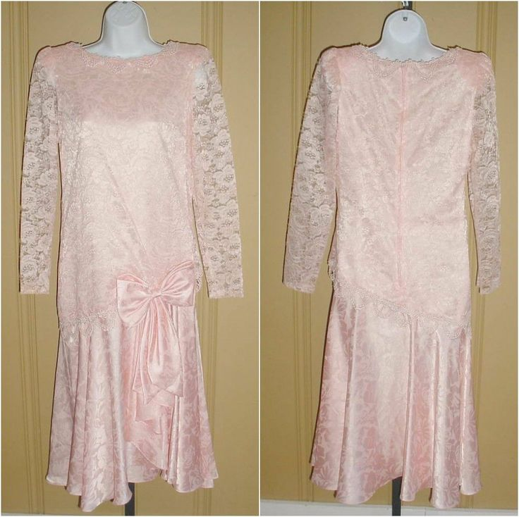 20s drop waist bow pink sheer lace modern millie flapper event dress s