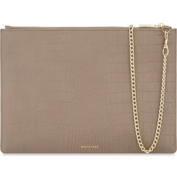 WHISTLES Rivington large leather clutch ($105) ❤ liked on Polyvore featuring bags, handbags, clutches, croc handbags, crocodile leather purse, zip purse, genuine leather handbags and leather clutches