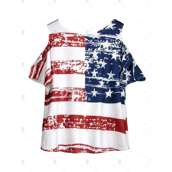 Cold Shoulder American Flag T Shirt ❤ liked on Polyvore featuring tops, t-shirts, american flag top, white tee, white cut out shoulder top, white cold shoulder top and usa flag t shirt