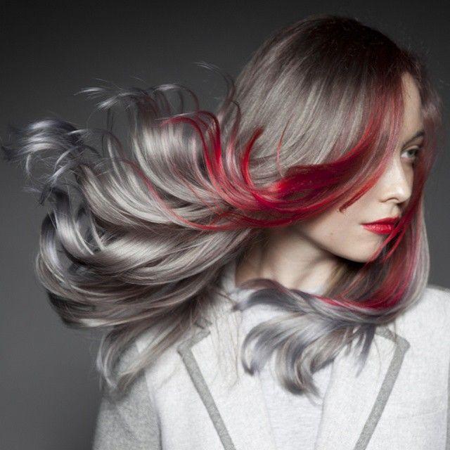 Breathtaking platinum gray with a slash of blood red hair color. Hair by Cameron LeSiege. Photographer and model: Daryna Barykina #hotonbeauty #Pravana fb.com/hotbeautymagazine
