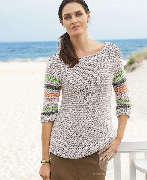 Пуловер  с рукавами в полоску, схема вязания на сайте Люди Вяжут