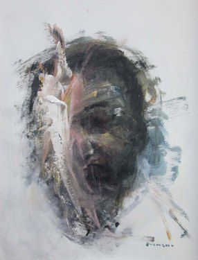 "Saatchi Online Artist Masri Hayssam; Painting, ""Self portrait #77"" #art"