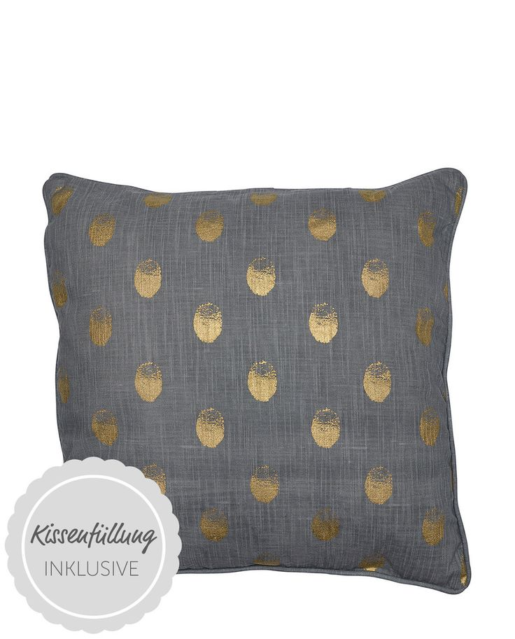 Perfekte Kombi aus kühlem Grau und warmen Gold: Das Baumwoll-Kissen Paula in OEKO-TEX-Qualität von Greengate brilliert im stilsicheren Goldtupfen-Design.