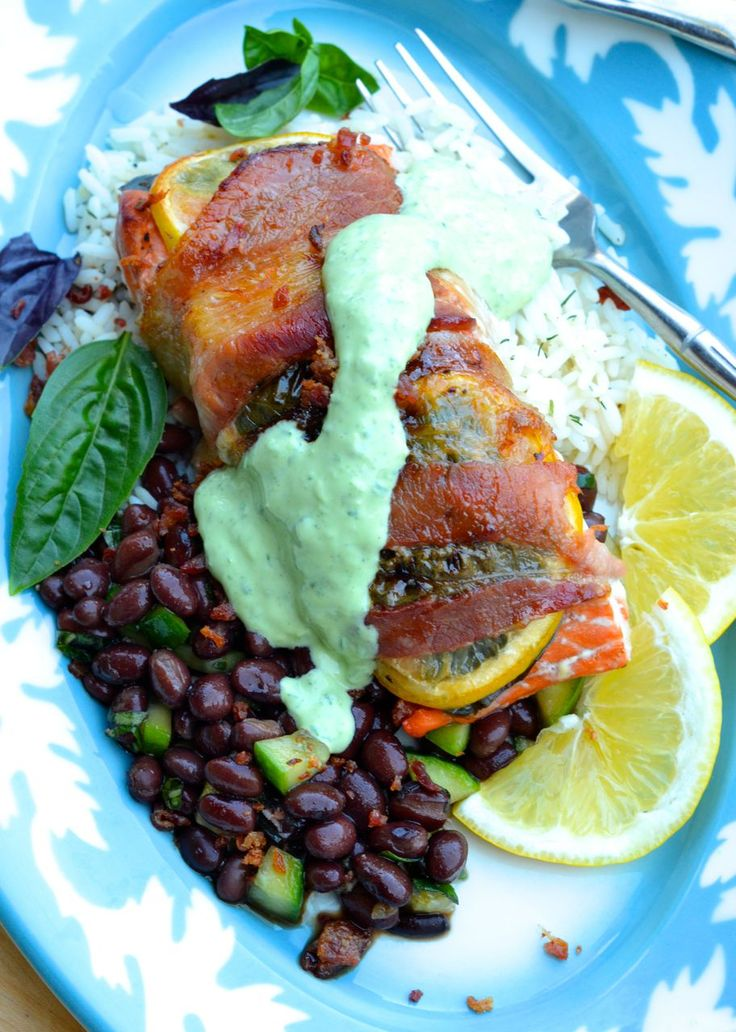Smoked Bacon Wrapped Salmon on Herbed Rice with Black Bean Relish and Creamy Basil Dressing