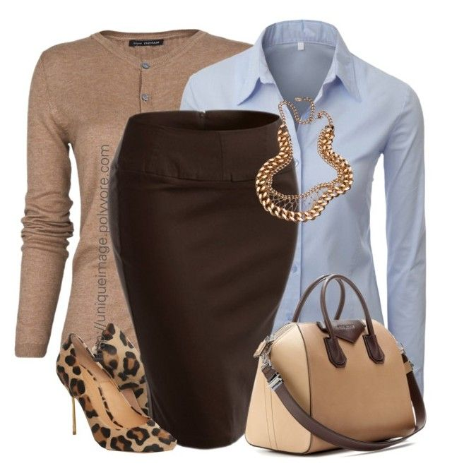 """""""Brown & Leopard"""" by uniqueimage ❤ liked on Polyvore featuring MANGO, Doublju, Kurt Geiger, Givenchy and Karen London"""