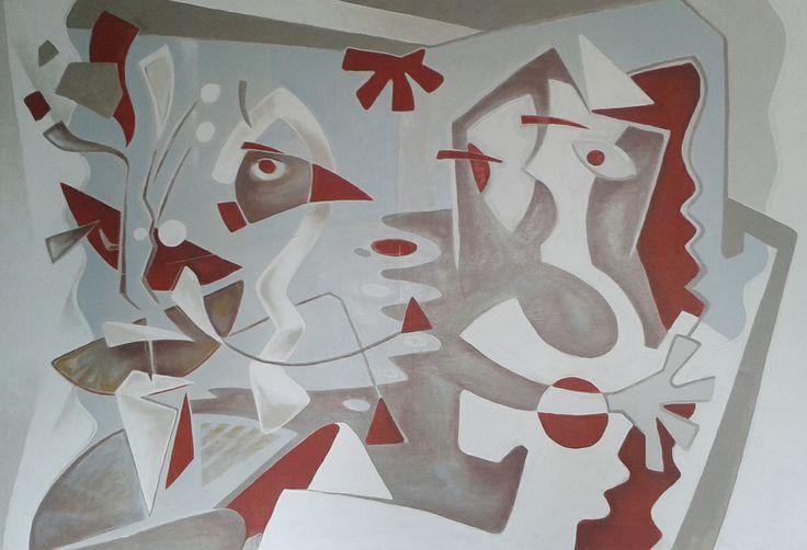 """(c) Cédric Bescond, """"Madame est surprise !"""", acrylique sur toile 1x1,5m - 2012 #Peinture #Peintre #Brest #Bretagne #Artiste"""