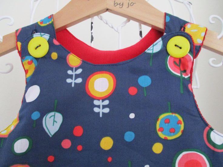 Reversible Dress, girls pinafore, red needle cord, blue lollipop cotton,  2 in 1,  cotton poplin, christmas dress, applique, lollipops. by beadiesbyjo on Etsy