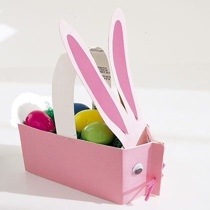 Easter Craft: Bunny Basket (Easter Baskets) Get the milk carton with a coupon http://thekrazycouponlady.com/print-coupons/