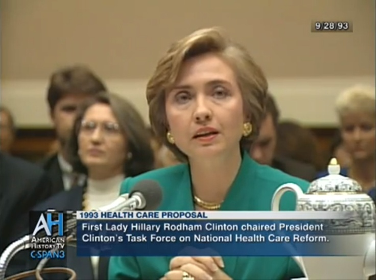 Then first lady Hillary Clinton