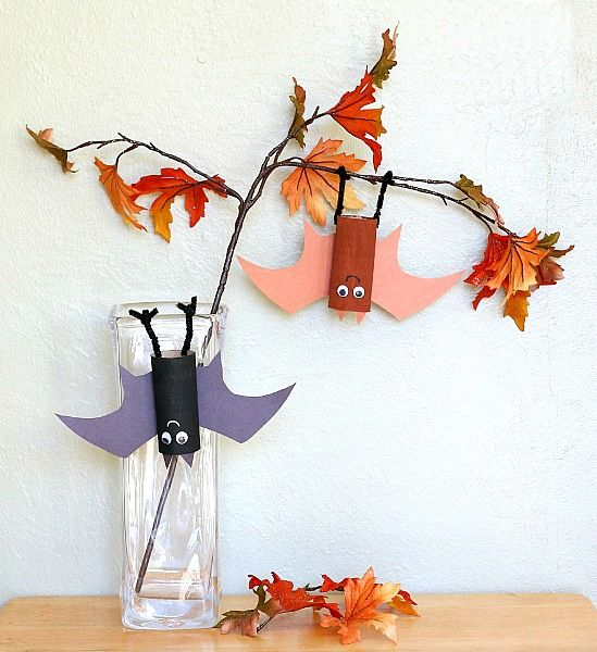 Perfect extension activity for Stellaluna! (Halloween Craft for Kids Using Toilet Paper Rolls: Hanging Bat Craft)~ BuggyandBuddy.com~ BuggyandBuddy.com
