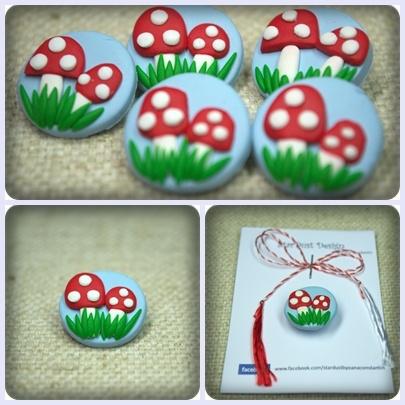 Two cute mushroom friends ♥ - polymer clay brooch