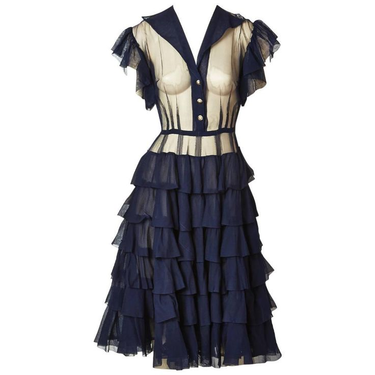 Navy Chiffon Dress with Ruffle Detail  | From a collection of rare vintage evening dresses and gowns at https://www.1stdibs.com/fashion/clothing/evening-dresses/
