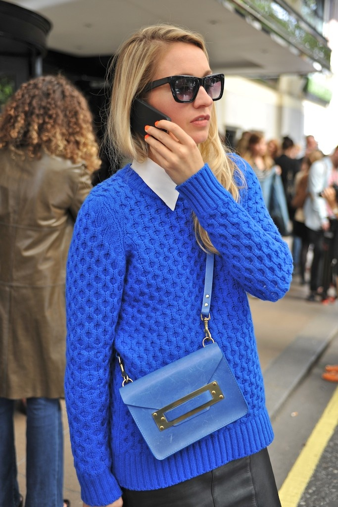 Blue Cable Knitted Sweater