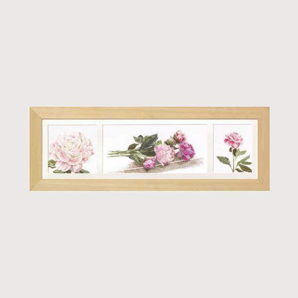 kit de broderie au point de croix points comptés : fleurs et nature pivoines  Triptyque de Thea Gouverneur