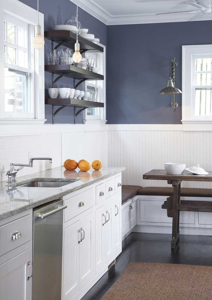 navy blue kitchen wall, white cabinets Have the white cabinets,nwould