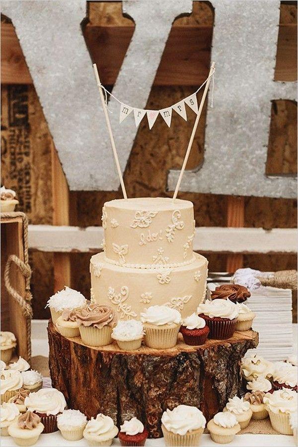 vintage country wedding cake and cupcake / http://www.deerpearlflowers.com/rustic-wedding-cupcakes-stands/