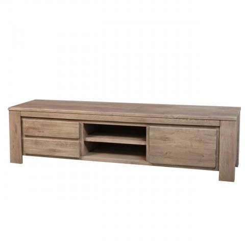 Tv meubel sansa groot koffiebruin vervaardigd uit massief for Meuble tv quilda