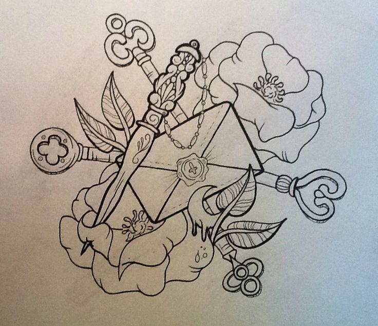 envelope tattoo, tattoo flash, letter tattoo, love letter tatoo