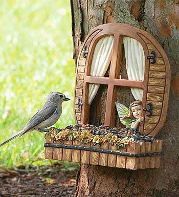 Fairy Window Bird Feeder....a cute fairy window for your tree and a bird feeder all in one!