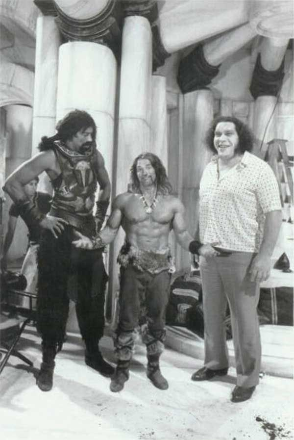 Wilt Chamberlain, Arnold Schwarzenegger and Andre the Giant on the on the set of Conan the Destroyer.